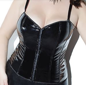 PVC corsette with front hooks and no back lacing
