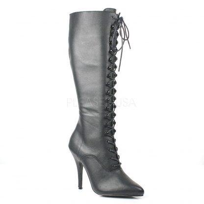 Leather Laced Up Knee Boot