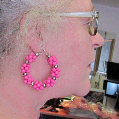 Fuchsia Hoop Earring