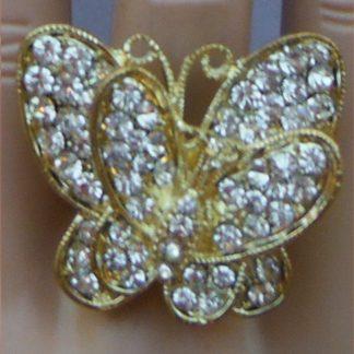 Gold Rhinestone Butterfly Ring