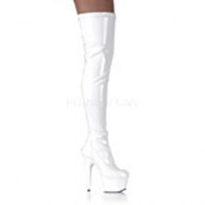 Platform Stretch Hip Boot White