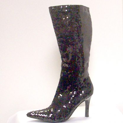 Black Sequin Knee Boots