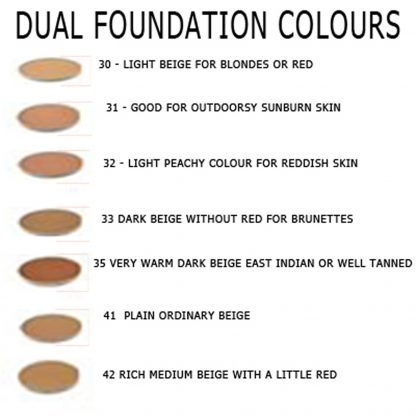 Dual Foundation Color Chart