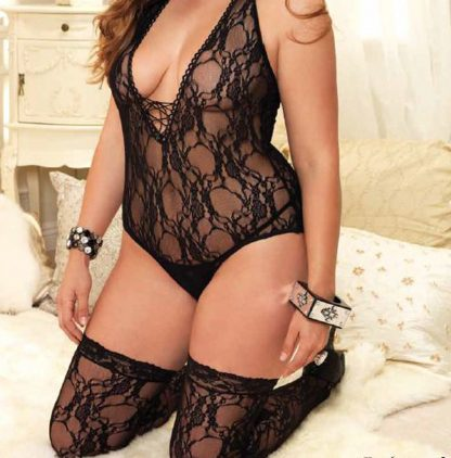 Lace Teddy and Matching Stockings