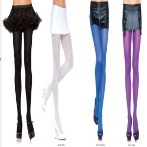 Tights in black, white, purple and beige