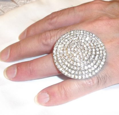 Silver Rhinestone Circle Ring