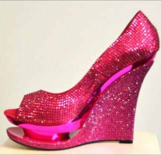 Glittery Platform Wedge Pink