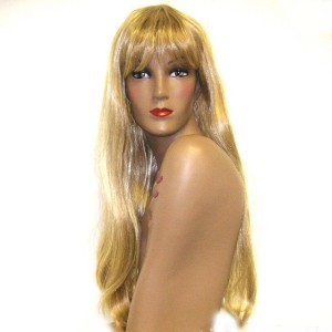 Jennifer Long thick straight blonde hair with bangs