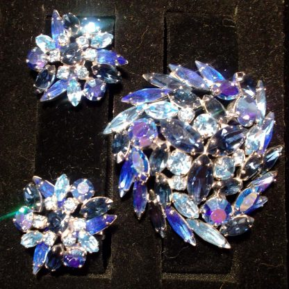 Blue Broach and Earrings