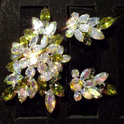 Mint Broach and Earrings