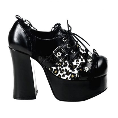 "*4 1/2"" P/F Goth Punk Oxford W/ Skull Studs & Lace Trim"