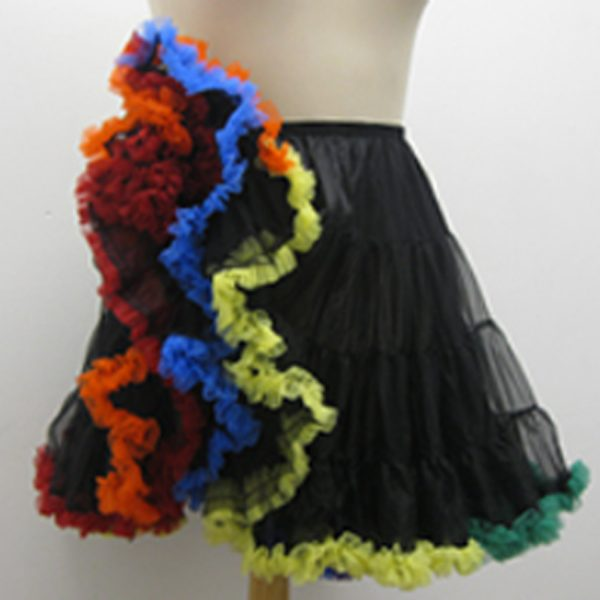 Black Crinoline with Rainbow Ruffle