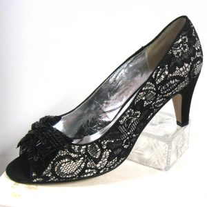 Black Lace Pump with 2 inch heel