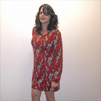 Black Red and White Silky Dress