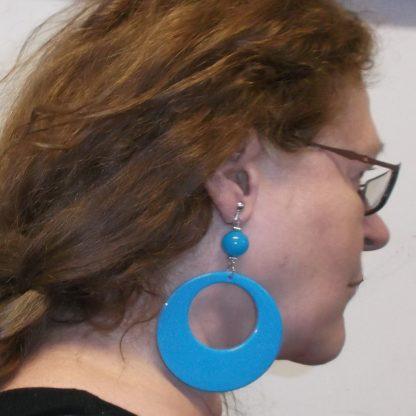 Plastic Blue Hoop Earring