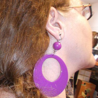 Plastic Hoop Earring Purple