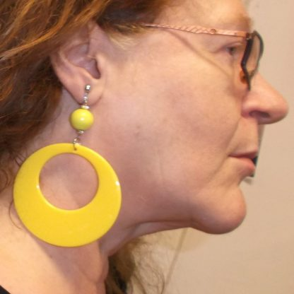 Plastic Hoop Earring Yellow