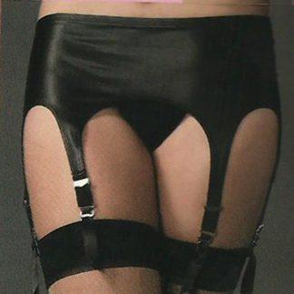6 Garter Rubber Look Garter Belt