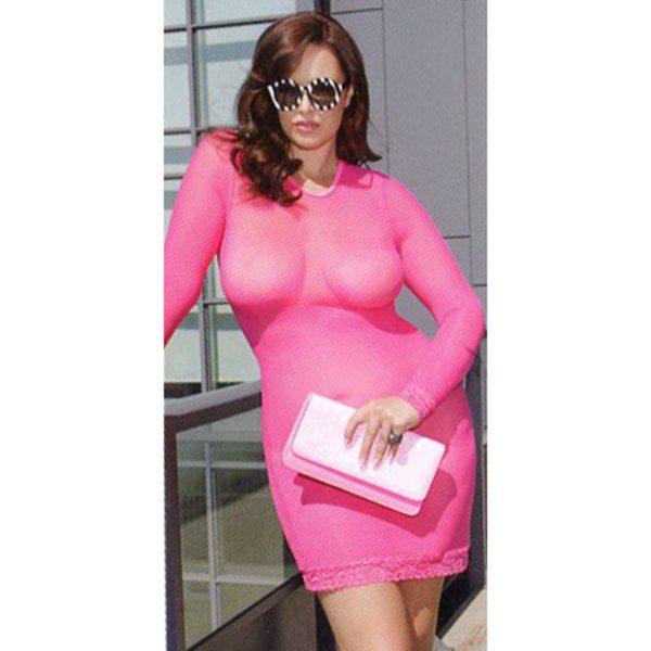Hot Pink See Through Dress