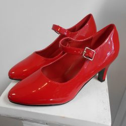 Wide Red Heel with Strap