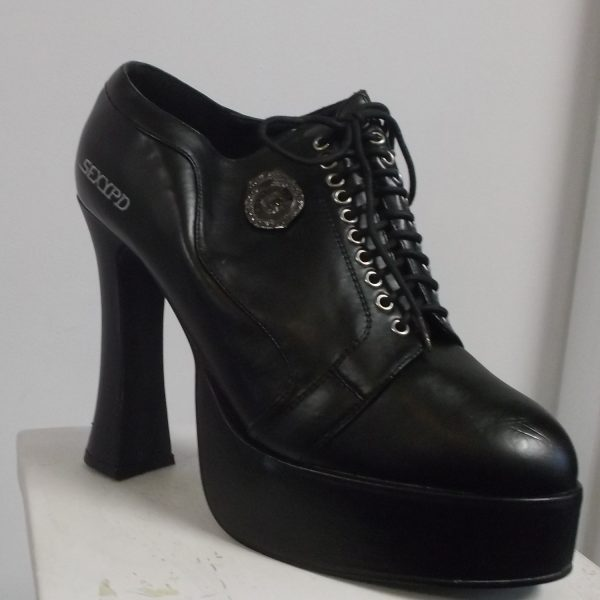 Platform Lace-Up Wide Heel