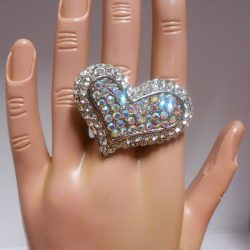 Multi Rhinestone Heart Ring