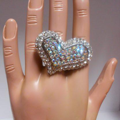 Multi Rhinestone Heart Ring