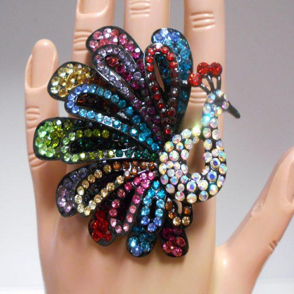 Full colour rhinestone peacock