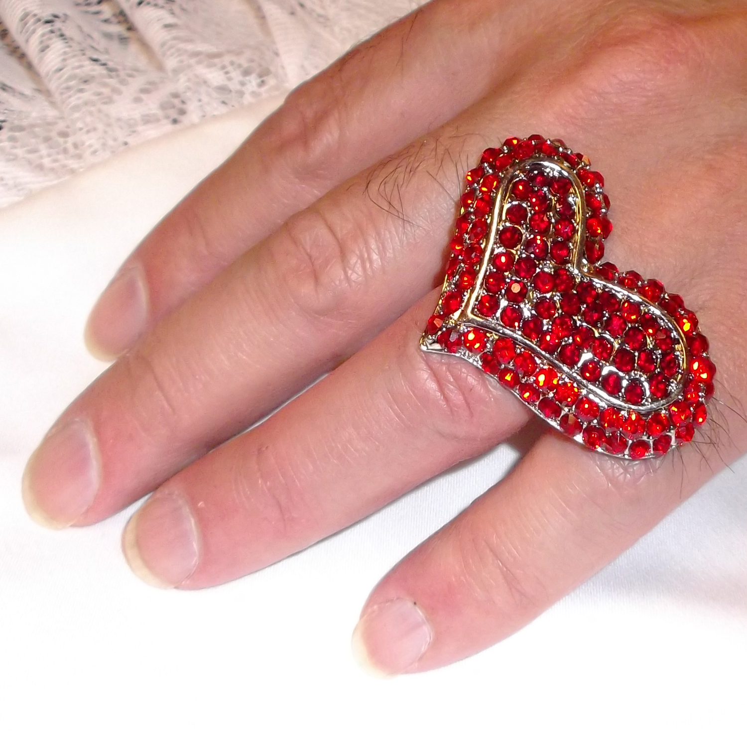 Delightful Red Heart Ring