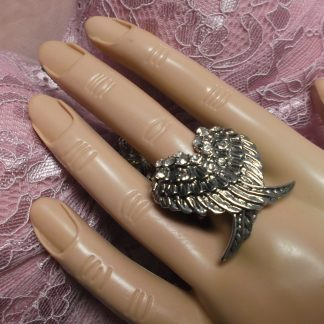 Angel Wings Rhinestone and Silver Ring