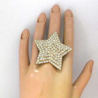 Gold Rhinestone Star Ring